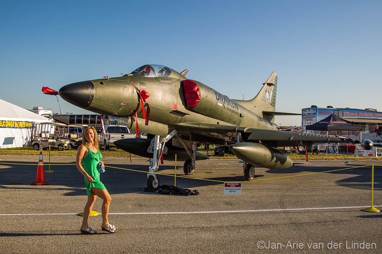 Nice lady from Draken International photo bombed me :-) former New Zealand air force A4 ©2014 Jan-Arie van der Linden all rights reserved.
